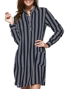 Cute Button Slit Pocket Stripe Dress For Women