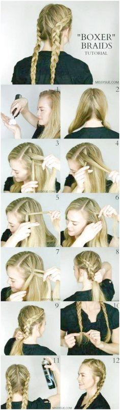 Best Hair Braiding Tutorials - Dutch Boxer Braids - Easy Step by Step Tutorials . Best Hair Braiding Tutorials – Dutch Boxer Braids – Easy Step by Step Tutorials for Braids – Dutch Braid Half Up, Two Dutch Braids, French Braids, Braided Hairstyles Tutorials, Headband Hairstyles, Cool Hairstyles, Hair Tutorials, Brunette Hairstyles, Short Braids
