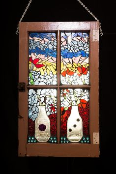 Mosaic Window Vases and Flowers Stained by PiecesofhomeMosaics