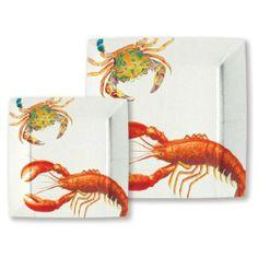 Michel Design Works Lobster Dinner Square Paper Plates, 8 Count