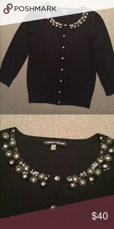 Cable & Gauge black cardigan with crystal/beads Beautiful beaded neckline reflecting against a classic black cardigan. Classic cardigan that can be used to dress the evening. NWOT Cable & Gauge Sweaters Cardigans