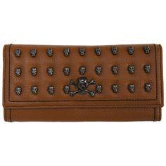 Tan leather skulls purse, £15