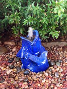 This striking blue fish makes the perfect Fountain head for this custom Disappearing Fountain. Fountain Head, Fish, Garden, Blue, Garten, Pisces, Lawn And Garden, Gardens, Gardening