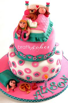 one of the cutest cakes I have ever seen - slumber party birthday cake