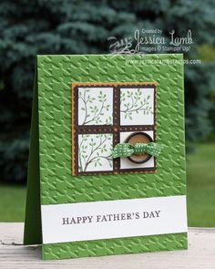 Father's Day card - the use of embossing folders really makes these cards, great masculine colors, like the postage stamp shaped layers.  Need to follow this stamper!