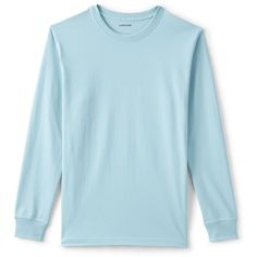 Lands' End Men's Tall Long Sleeve Super-T ($30) ❤ liked on Polyvore featuring men's fashion, men's clothing, men's shirts, men's t-shirts, men, blue, shirts, faded glory men's shirts, wrinkle free mens shirts and mens blue shirt
