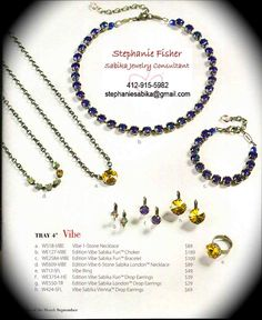 """Sabika 2013 Fall/Winter Collection Tray 4 """"Vibe""""  To place a order, host a party OR host a book party: Contact: Stephanie Fisher Independent Sabika Jewelry Consultant 412-915-5982 stephaniesabika@gmail.com"""