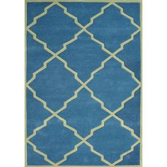 Give your floor a finished look with this striking blue wool rug. The contemporary geometric pattern on this 100-percent New Zealand blended wool rug is bold enough to be noticed but not overpowering.