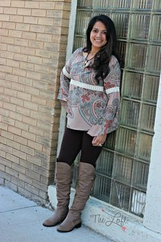 Love these over the knee boots on Laura...  not to mention the sweet peasant style blouse and leggings...  #ishoptheloft #fashion #nowtrending #style #ootd #mystyle #boutiquelove #trendy #shopsmall #follow