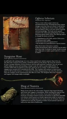 Oghma Infinium, Sanguine Rose, Ring of Namira
