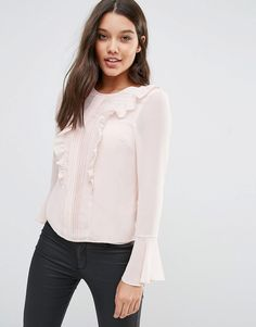 Image 1 ofMichelle Keegan Loves Lipsy Ruffle Front Blouse