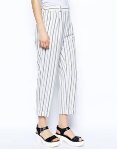 Enlarge ASOS Slouch Peg Trousers in Stripe