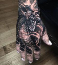 hand tattoos for guys portrait \ portrait tattoos for guys - portrait sleeve tattoos for guys - hand tattoos for guys portrait Skull Hand Tattoo, Hand Tats, Hand Tattoos For Guys, Snake Tattoo, Skull Tattoos, Evil Tattoos, Badass Tattoos, Chest Tattoo, Back Tattoo