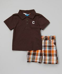 Look what I found on #zulily! Brown & Orange Plaid Polo & Shorts - Infant & Toddler by Weeplay Kids #zulilyfinds