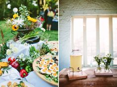 simple cocktail treats. deviled eggs and lemonade. elegant wild flowers