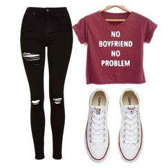 """Untitled #459"" by cuteskyiscute ❤ liked on Polyvore featuring Topshop and Converse"