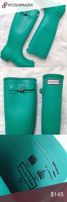 Hunter 'Original Tall' Rain Boot in Jade Original Tall rain boots in a gorgeous jade green. Size 9. Never worn. Does not include shoe box. Sorry, not interested in trades. Hunter Boots Shoes Winter & Rain Boots