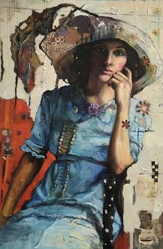 Buy Mercy in Big Hat, Mixed Media painting by Juliette Belmonte on Artfinder. Discover thousands of other original paintings, prints, sculptures and photography from independent artists. Mixed Media Artwork, Mixed Media Painting, Portrait Art, Portraits, Mixed Media Photography, Paintings For Sale, Original Paintings, Face Art, Art Faces