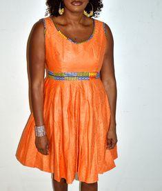 Orange Ankara Print Short Dress, African Print Short Dress
