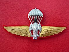 Royal Thai Army Honorary Parachutist Plated Metal Badges Wing
