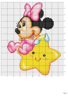 Baby minni e mickey mouse a punto croce kanavice sablon cros Disney Cross Stitch Patterns, Cross Stitch For Kids, Cross Stitch Baby, Cross Stitch Charts, Cross Stitching, Cross Stitch Embroidery, Baby Mickey Mouse, Stitch Cartoon, Disney Stitch