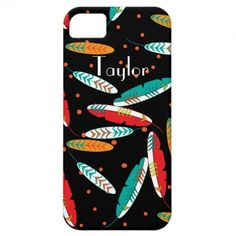 Indian Tribal Feathers Patterned Phone Cases.  A lovely tribal feathers pattern in shades of teal blue, green, yellow, orange and black. A stylish way to protect your phone and so easy to personalize with a name.