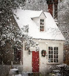 Content in a Cottage: Christmas Cottage in the Snow Christmas Scenes, Winter Christmas, Christmas Home, Xmas, Cottage Christmas, Merry Christmas, Cute Cottage, Cottage Style, Cottage Living