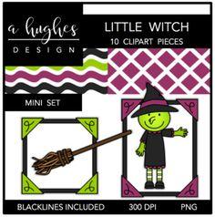 Little Witch Mini Clipart Set {A Hughes Design}