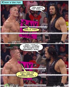 Why, roman, why? Who the hell carries sushi in their pockets? Wwe Funny, Hilarious, Wrestling Memes, I Just Dont Care, Wwe Stuff, Wwe Photos, John Cena, Roman Reigns, Wwe Superstars