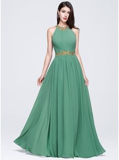 A-Line/Princess Scoop Neck Floor-Length Chiffon Prom Dress With Ruffle Beading Appliques Lace Sequins