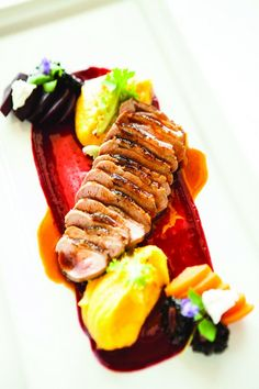 Crispy Duck with Butternut Squash Purée at Mereday's Fine Dining. - The Most Healthy Foods Duck Recipes, Gourmet Recipes, Cooking Recipes, Gourmet Desserts, Plated Desserts, Gourmet Foods, Chefs, Good Food, Yummy Food