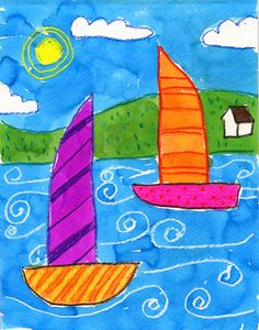 Simple boat painting - art projects for kids Art Lessons For Kids, Art Lessons Elementary, Projects For Kids, Art For Kids, Art Projects, Art Children, School Children, Project Ideas, Sailboat Drawing