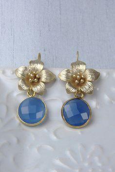 Bezel Set Earrings / Blue Onyx Earrings / by AlisonStorryJewelry, $48.00