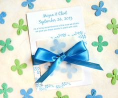 Plantable Wedding Favors  Satin Ribbon  Flower by recycledideas, $98.00