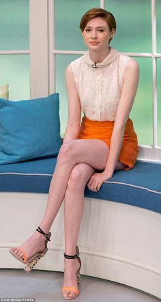 Sitting pretty: Karen Gillan took the hot seat on ITV chat show Lorraine this Thursday mor...