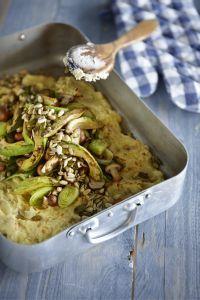 Aardappelschotel met avocado, champignons en pitten #Avogelrecepten