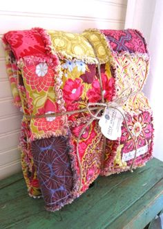 Rag Quilt CUSTOM Throw - Reversible - Any Color Any Pattern. I might be able to get into this kind of quilting. Fabric Crafts, Sewing Crafts, Diy Crafts, Textiles, Quilting Projects, Sewing Projects, Manta Crochet, Rag Quilt, Baby Quilts