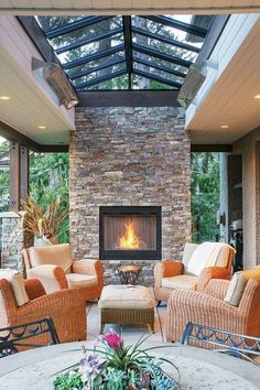 outdoor living room furniture, outdoor living room with fireplace , outdoor living room design , outdoor living room cost , outdoor living room and kitchen Outdoor Living Rooms, Cozy House, Living Room Designs, New Homes, Outdoor Decor, Home Decor, Dream Houses, Spanish Style, Architecture