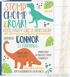 Make Your Kids Happy With Dinosaurs Invitations!Every kid loves dinosaur, especially boys. Even though this extinct animal has a quite scary appearance, but kids love it. So that a lot of children request for dinosaurs to be involved in their birthda Free Printable Party Invitations, Birthday Party Invitations Free, Dinosaur Birthday Invitations, Dinosaur Birthday Party, Invitation Templates, 5th Birthday, Birthday Ideas, Birthday Template, Barn