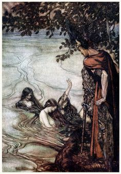 Though gaily ye may laugh, In grief ye shall be left, For, mocking maids, this ring  Ye ask shall never be yours.  (Arthur Rackham, from Siegfried & The twilight of the gods, by Richard Wagner, London, 1911.)