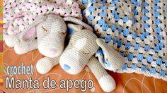 Colcha con perritos dormilones o manta de apego tejida a crochet (cuadra...