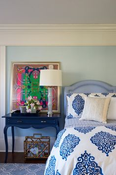 Guest Bedroom, framed Hermes scarf Guest Bedroom Decor, Bedroom Colors, Guest Bedrooms, Guest Room, Bedroom Ideas, Blue Nightstands, Hermes Home, Scarf Display, Navy Living Rooms