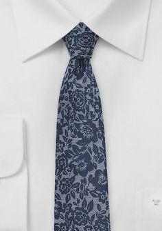Krawatte schlank blumig navyblau