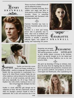 Henry and Charlotte Branwell, Sophie Collins, and Jessamine Lovelace || The Infernal Devices