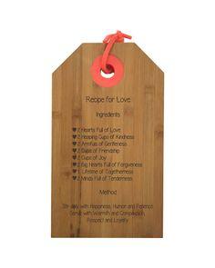 Snijplank met het recept voor liefde er op, super huwelijkscadeau
