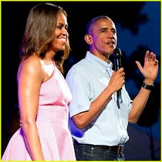 President Barack Obama gives a little speech as he welcomes members of the military and White House staff to a Fourth of July performance on the South Lawn on Saturday (July 4) in Washington D.C. The 53-year-old Commander in Chief was joined by his lovely wife, First Lady Michelle Obama, as he introduced performer Bruno