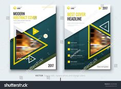 Yellow Cover design. Corporate business template for brochure, report, catalog, magazine. Layout with modern triangle photo and abstract triangle shapes. Creative poster, flyer or banner concept