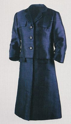First Lady Jacqueline Kennedy wore this navy blue suit on a trip to Paris in 1961.
