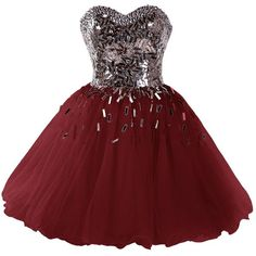 Dressystar 2015 Sweetheart Party Ball Gowns Sparkling Short Homecoming... ($110) ❤ liked on Polyvore featuring dresses, sweetheart dress, red dress, homecoming dresses, short dresses and sparkly dresses