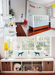 Bright nursery....expedit book case as a window seat, then add side bookcases to make it a built-in